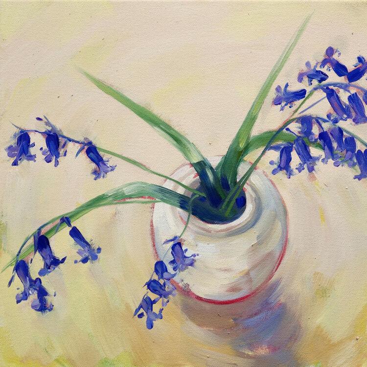 Bluebells from my Garden, 31x31cm, oil on canvas, (unframed) £395