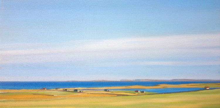 Bright Day, Papa Westray, 27x53, oil on board, £550