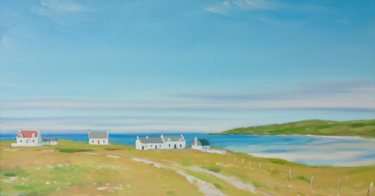 Cottages at Balephuil, 25x46cm, oil on board, £420