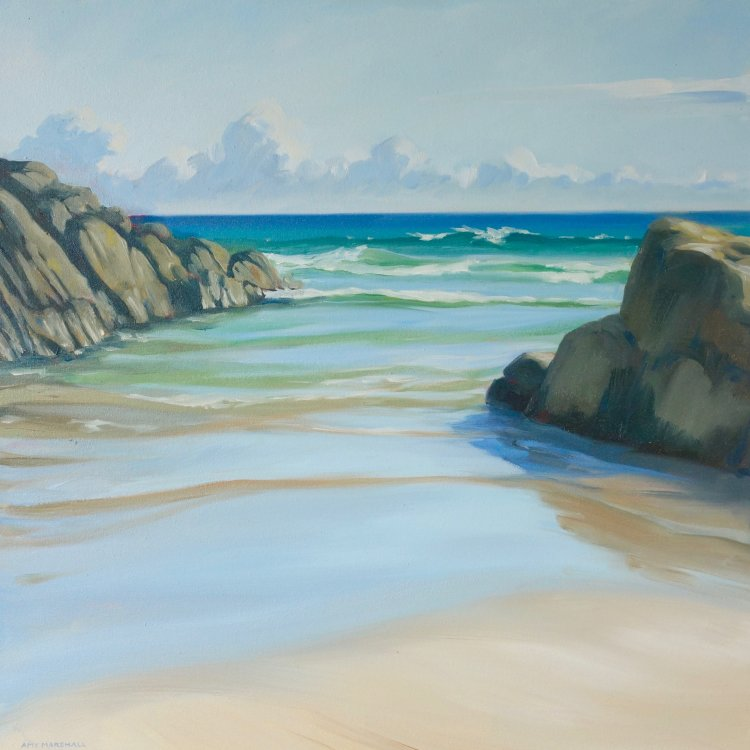 Rocky Cove, Balepuil, 50x50cm, oil on canvas, £650