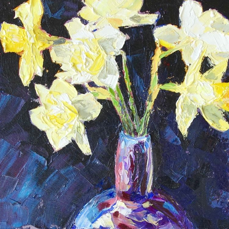 Daffodils, 23x23cm, oil on canvas, £310