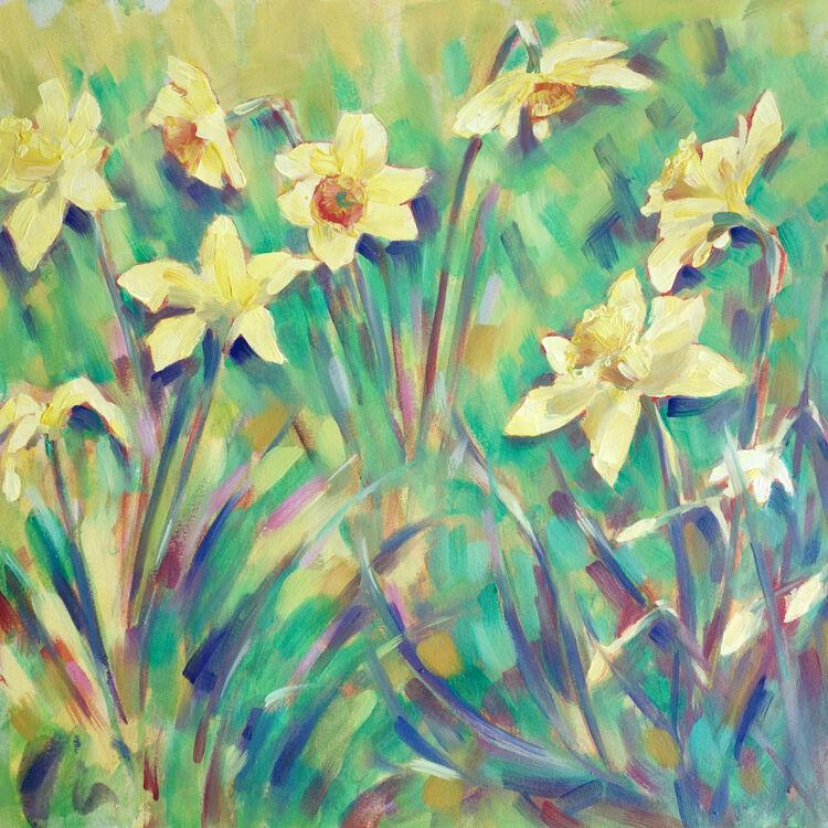 Daffodils, 50x50cm, oil on canvas, (unframed) £720
