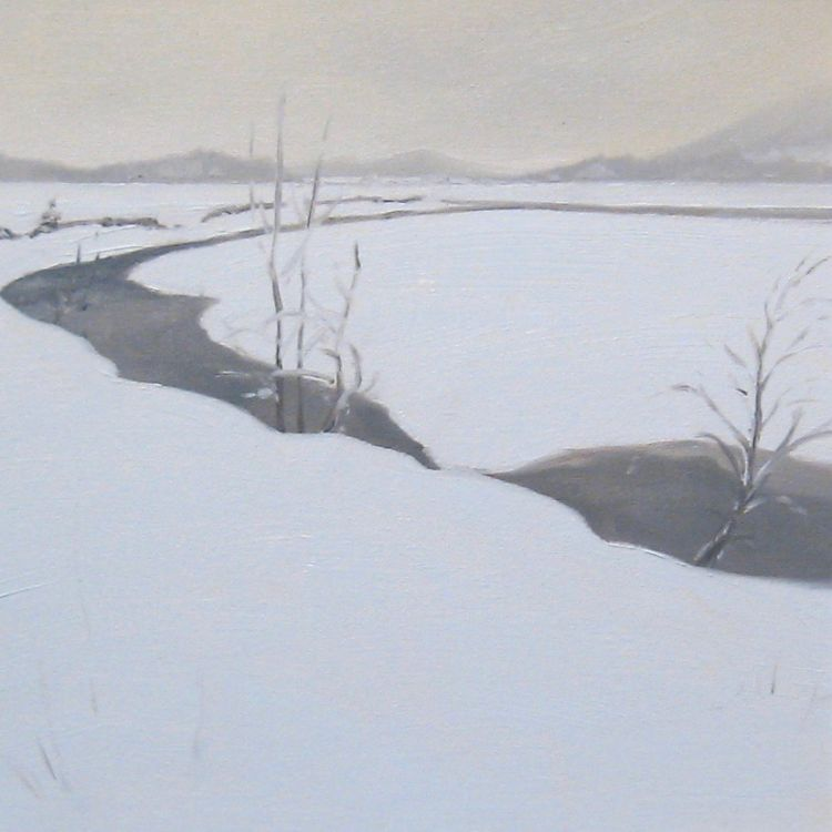 Deep Snow by the Feshie, 30x30cm, oil on canvas, £360