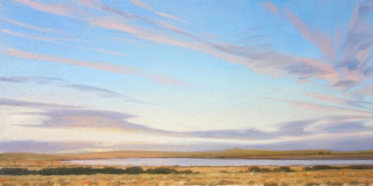 Evening, Loch of St. Tredwell, 27x53, oil on board, £550