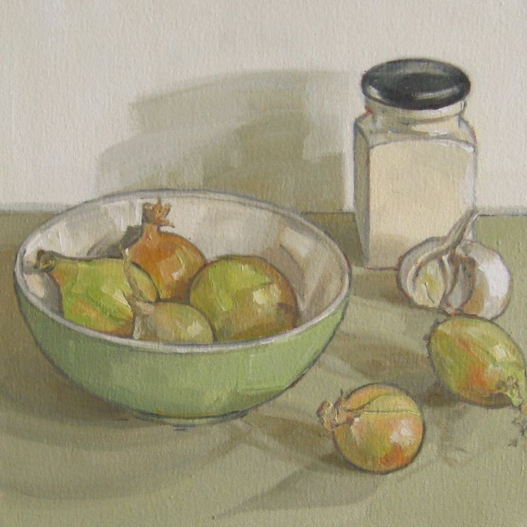 Green Bowl with Onions and Garlic, 25x25cm, oil on canvas, £320