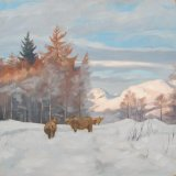 Highland Cows by the Campsies, 50x50cm, oil on canvas, £650