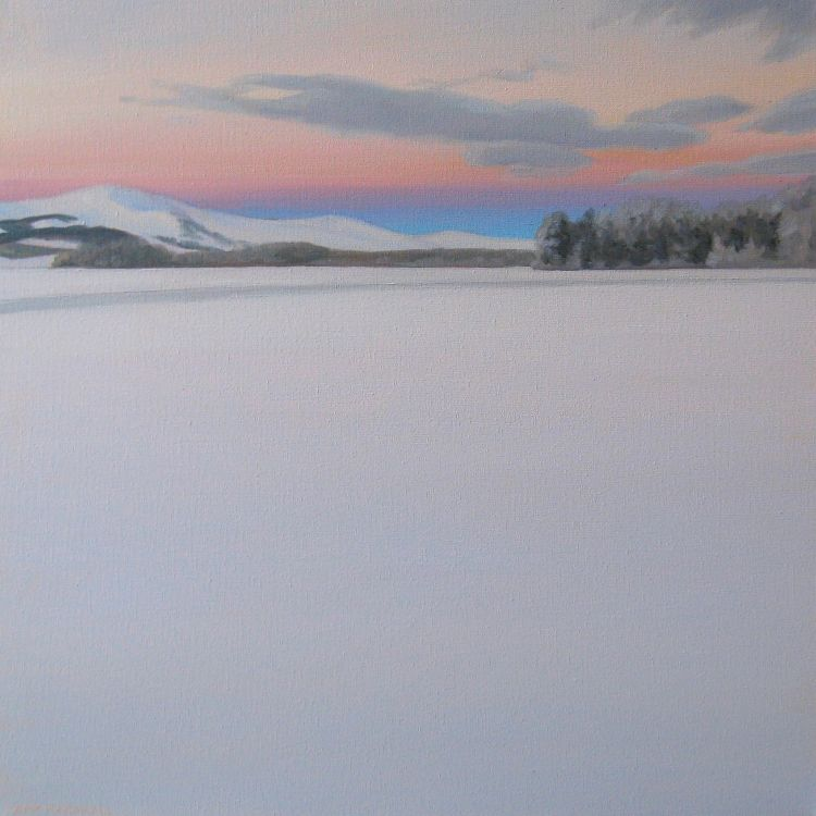 Loch Insh in Winter, 40x40cm, oil on canvas, £550