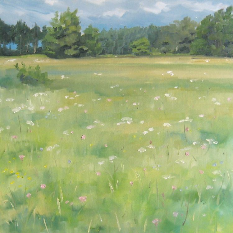 Meadow and Pine Woods, 40x40cm, oil on canvas, £550
