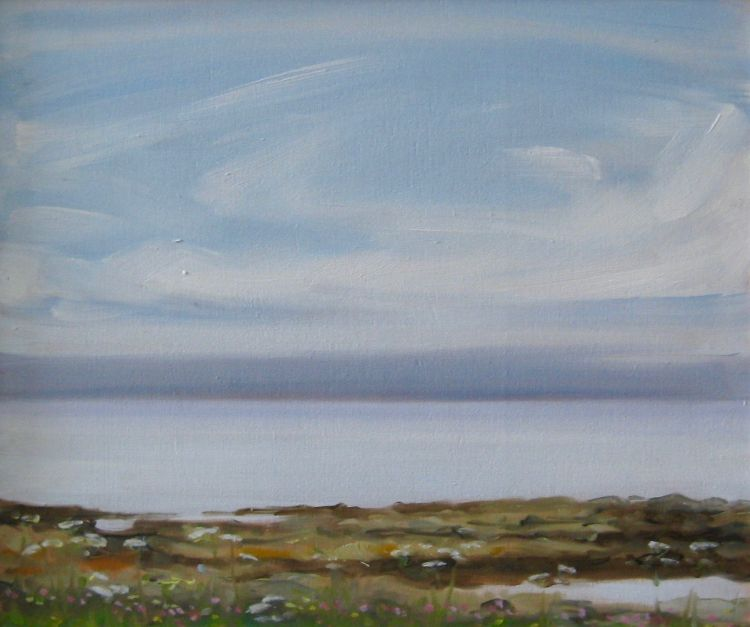 Mists out at Sea, Tiree, 25x30cm, oil on board, £340
