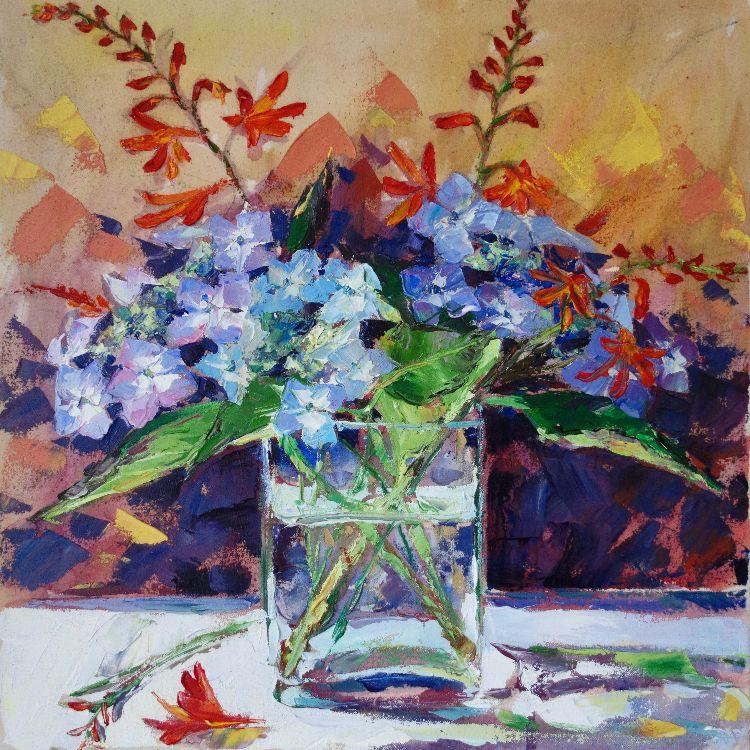 Montbretia and Hydrangeas, 40x40cm, oil on canvas, £675