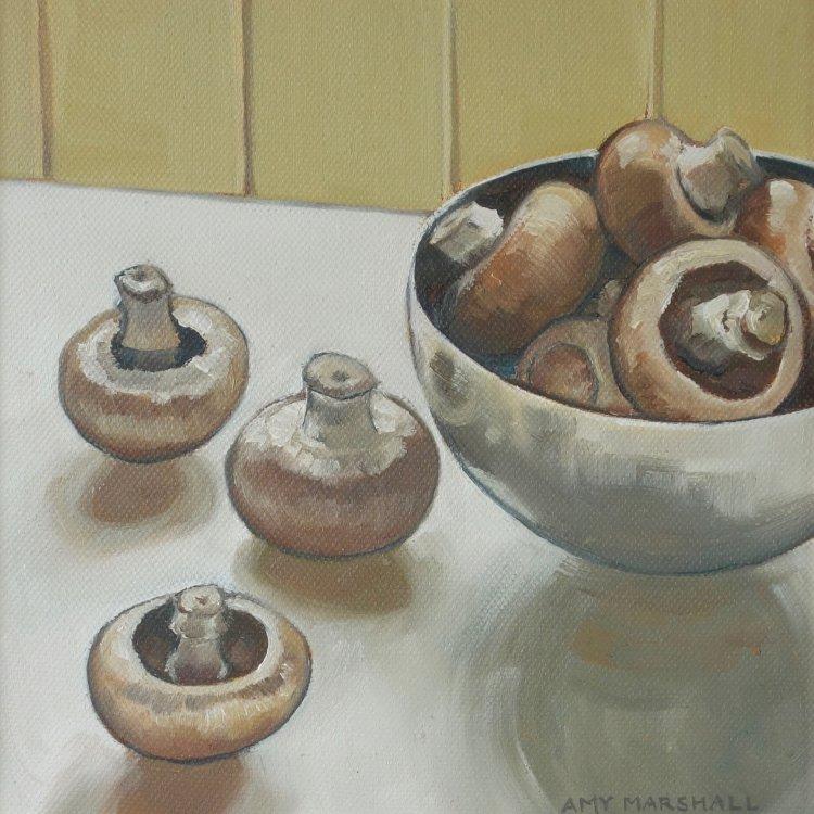 Mushrooms, 20x20cm, oil on canvas, £295