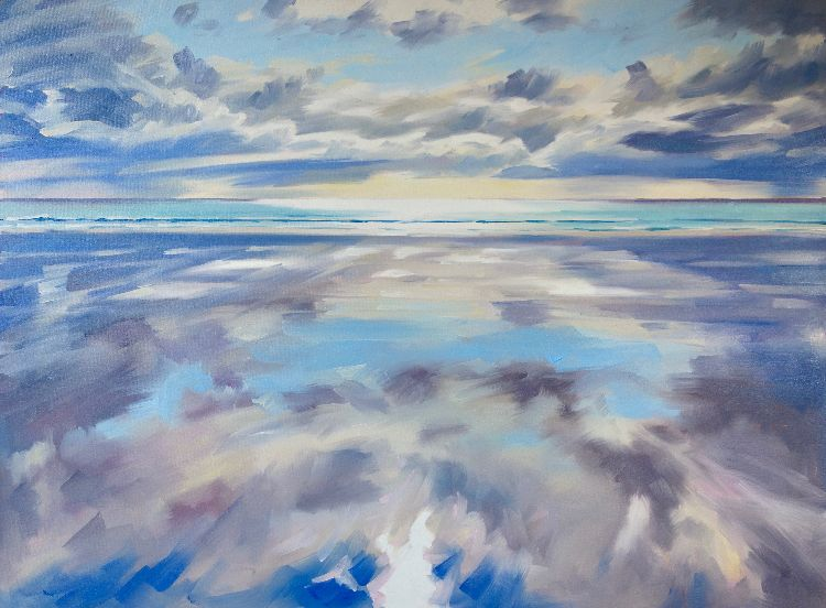 *New* Tiree Reflections, 85x115cm, oil on canvas (currently unframed £1850, framed £1950)