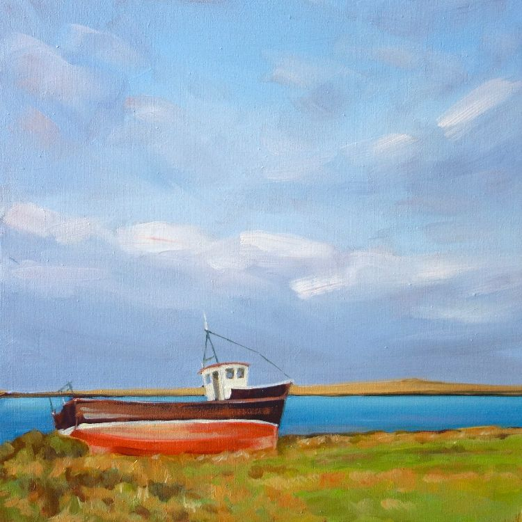 On Dry Land, Papa Westray, 25x25cm, oil on canvas, £320
