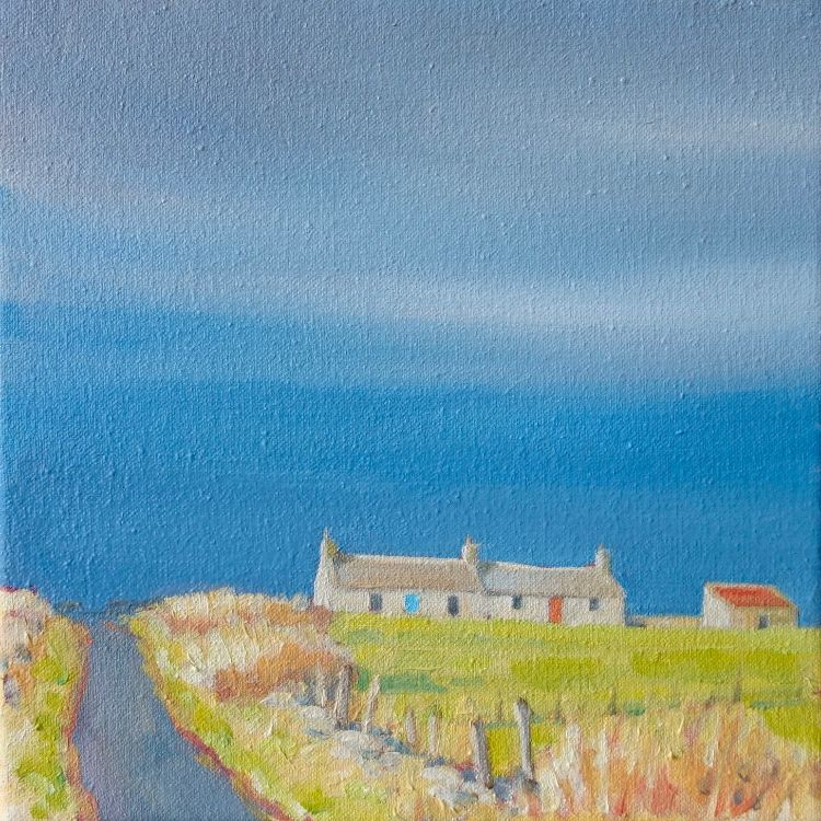 Orkney Cottages, 20x20cm, oil on canvas, £295