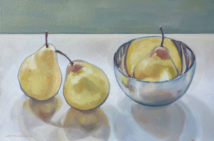 Pears and Silver Bowl, 20x30cm, oil on board, £320