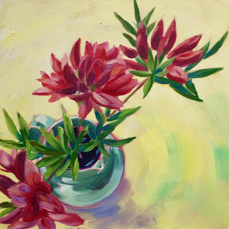 Pink Azaleas, 31x31cm, oil on canvas, (unframed) £395