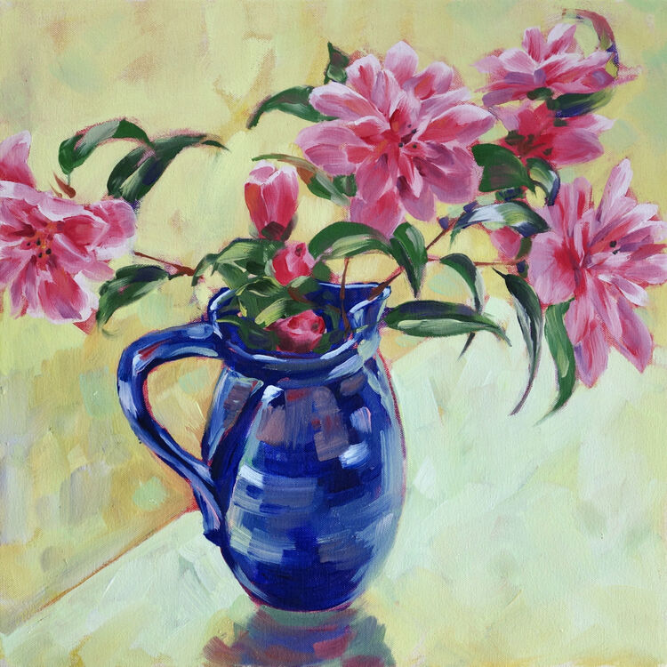 Pink Camelias in a Blue Jug, 40x40cm, oil on canvas, (unframed) £620