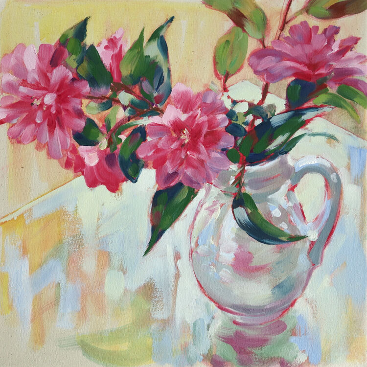 Pink Camelias in a White Jug, 40x40cm, oil on canvas, (unframed) £620