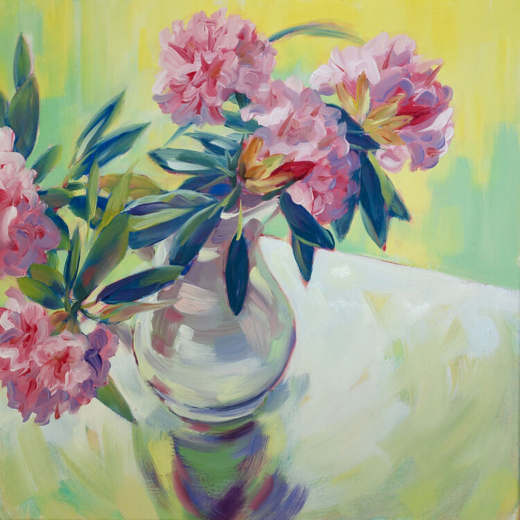 Pink Rhododendrons, 40x40cm, oil on canvas, (unframed, and on deep edged canvas) £620