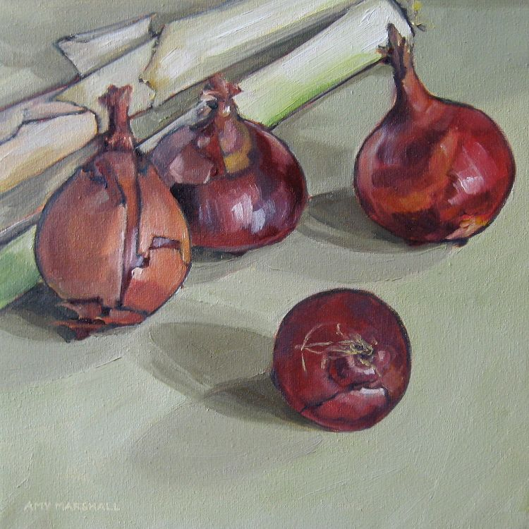 Red Onions and Leeks, 25x25cm, oil on canvas, £320