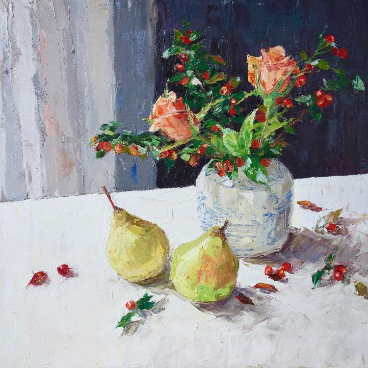 Roses, Pears and Cotoneaster, 40x40cm, oil on canvas, £675