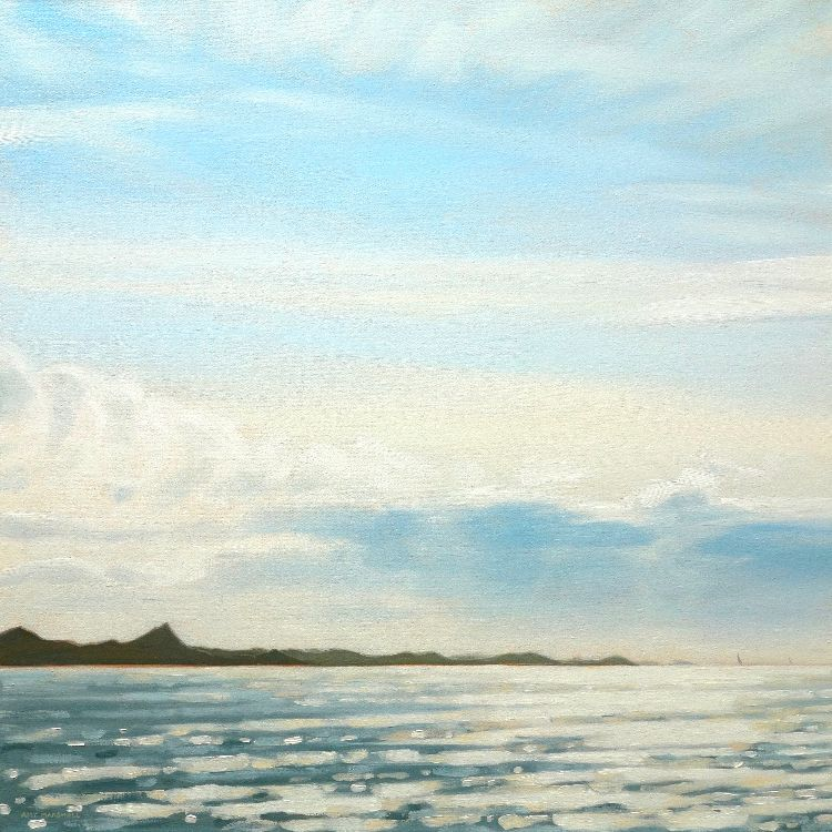Rounding Ardnamurchan, 60x60cm, oil on canvas (currently unframed £700, or framed £750)