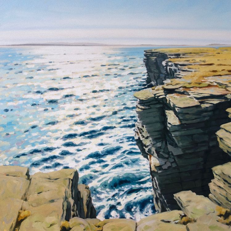 Sea Cliffs, Papa Westray, 100x100cm, oil on canvas, £1750