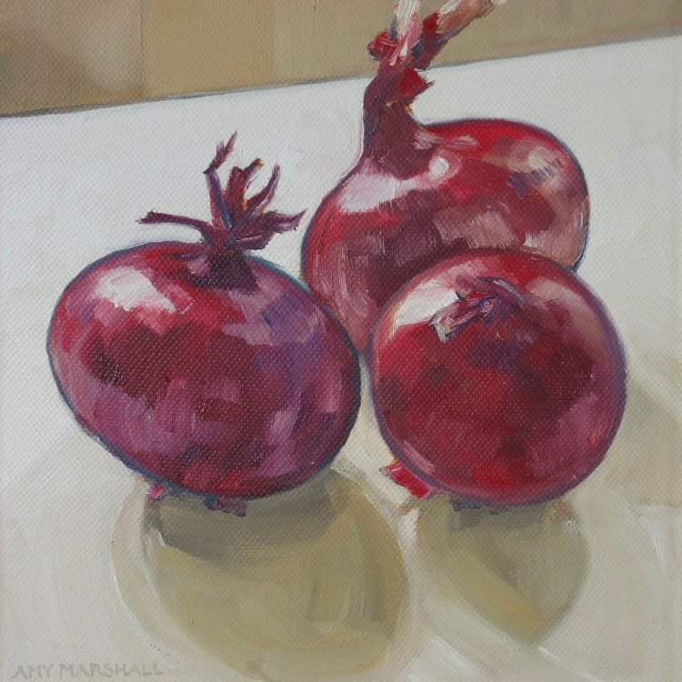 Shiny Red Onions, 20x20cm, oil on canvas, £295