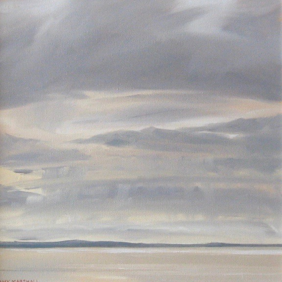 Silvery Day, East Coast, 30x30cm, oil on canvas, £360