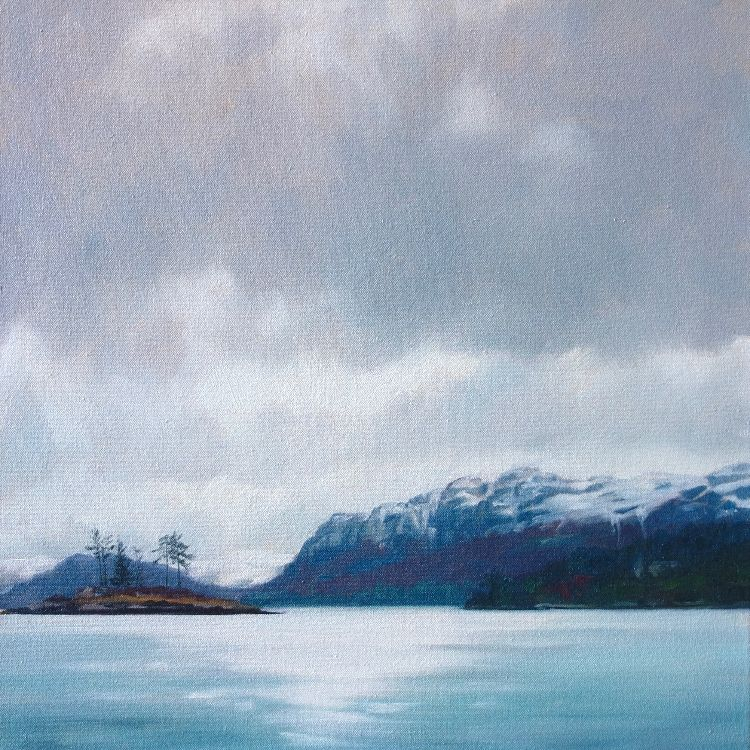 Snow Covered Cliffs Above Plockton, 40x40cm, oil on canvas, £550
