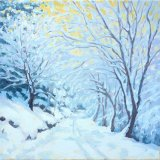 Snow Laden Boughs, 30x30cm, oil on canvas, £360