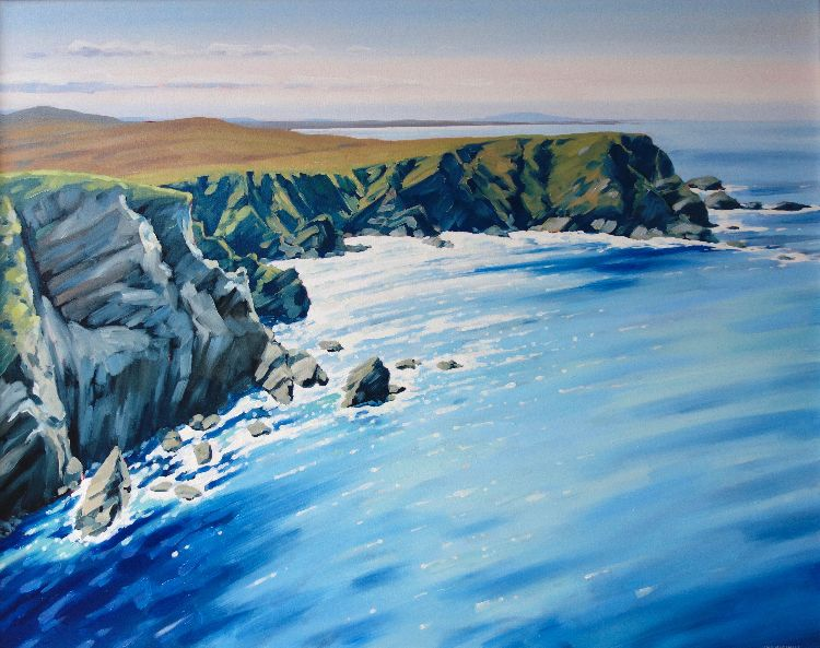 Sparkling Sea, Shetland Islands, 80x100,  oil on canvas, £1650
