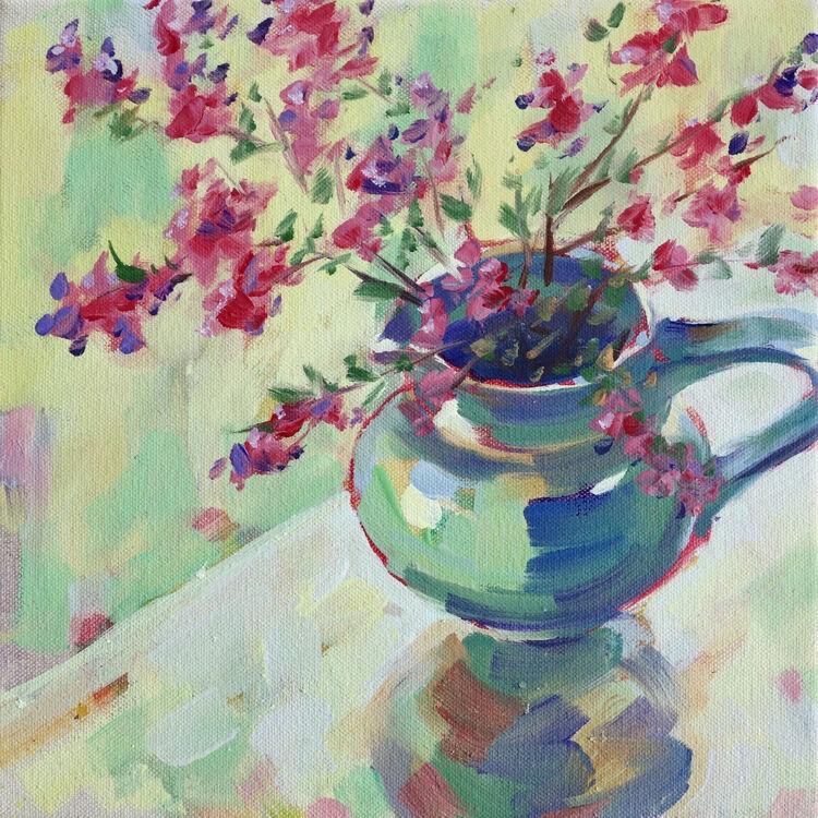 Spring Heathers, 23x23cm, oil on canvas, (unframed) £310