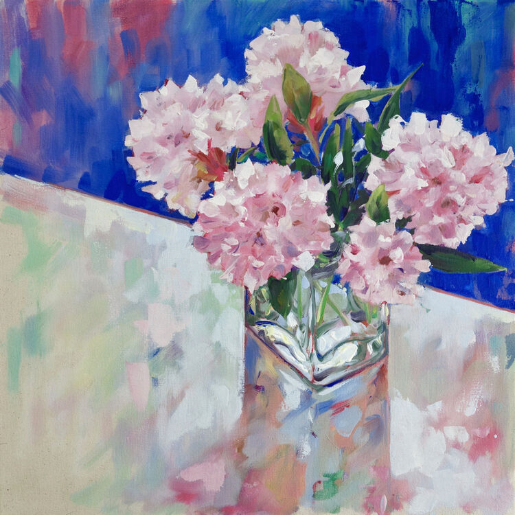 Spring Pinks, 60x60cm, oil on canvas, £795