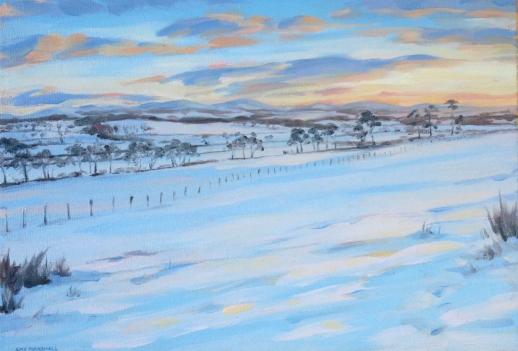 Sunset by the Hartree Hills, 30x42cm, oil on canvas, £520
