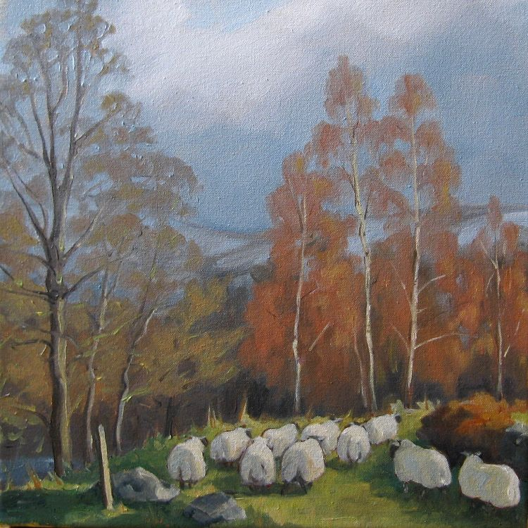 The Flock in Autumn, 30x30cm, oil on canvas, £360