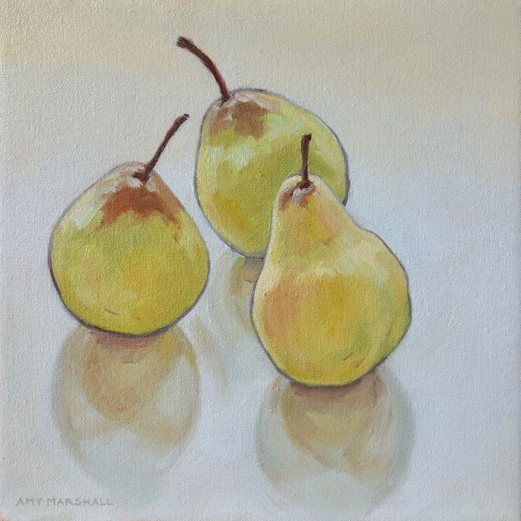 Three Golden Pears, 20x20cm, oil on canvas, £295