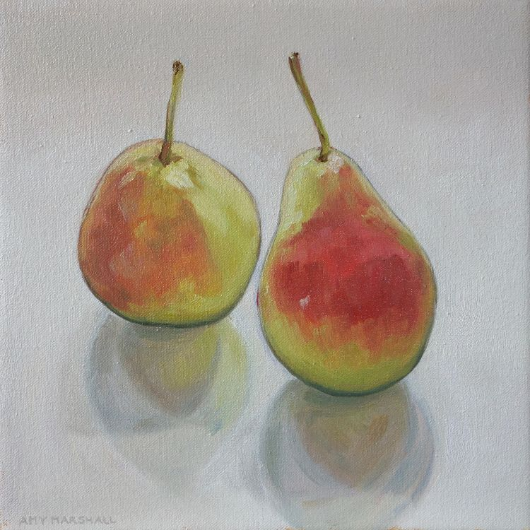 Two Blushing Pears, 20x20cm, oil on canvas, £295
