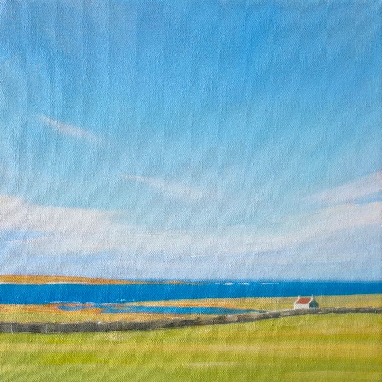 White House, Papa Westray, 25x25cm, oil on canvas, £320