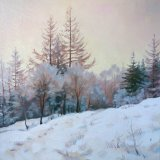 Winter Afternoon Walk, 40x40cm, oil on canvas, £550