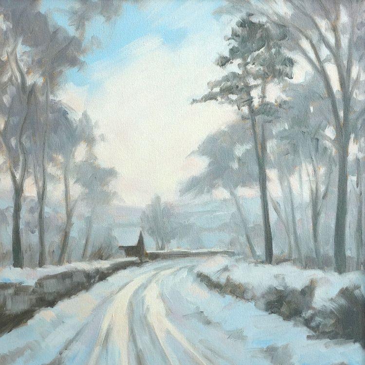 Winter Walk near Biggar, 30x30cm, oil on canvas, £340