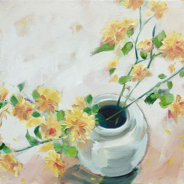 Yellow Spring Flowers, 31x31cm, oil on canvas, (unframed) £395