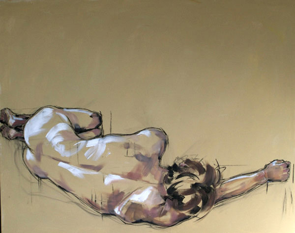 Sleeping Male Figure, 100x120cm, charcoal and oil on canvas, £1250 (unframed)