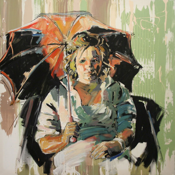 Dawn with Umbrella (2007, oil on canvas, 90 x 90cm)