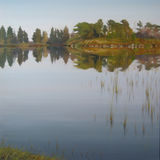 The Lochside, 76x76cm, oil on canvas, £840