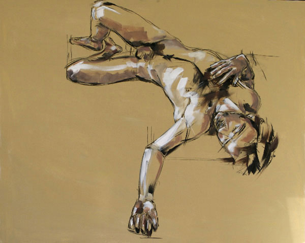 Sprawled Male Figure, 100x120cm, charcoal and oil on canvas, £1250 (unframed)