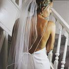 Waiste length satin edge veil