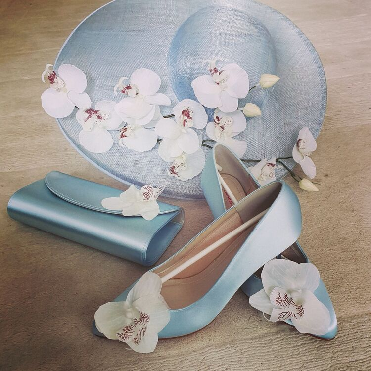 Amy money millinery with matching shoes and bags, all hand dyed for a perfect colour match