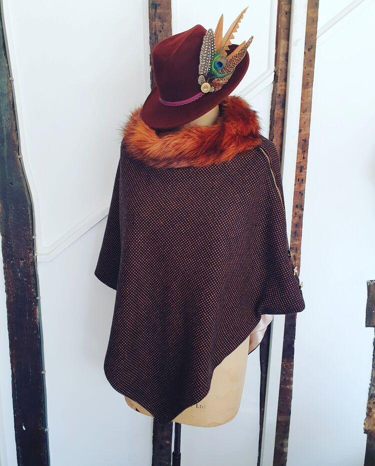 Luxury brown tweed cape