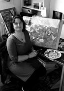 Amy in her studio at the Welshmill